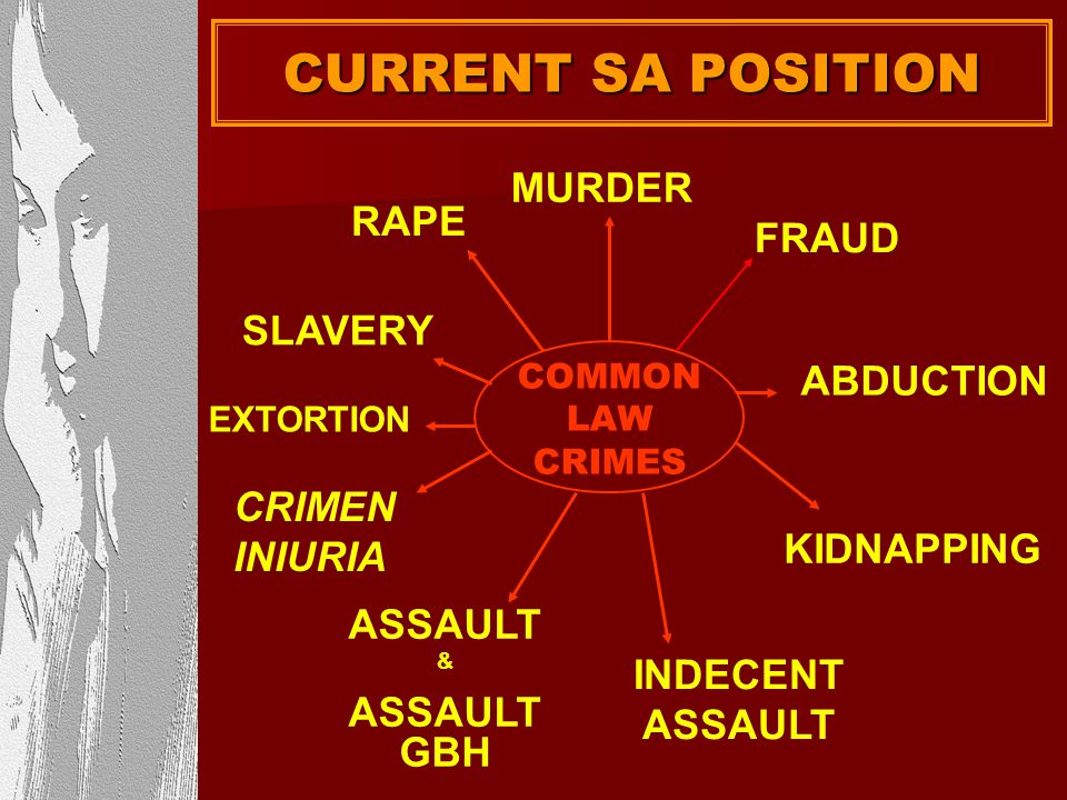 CURRENT SA POSITION MURDER RAPE FRAUD SLAVERY ABDUCTION CRIMEN INIURIA