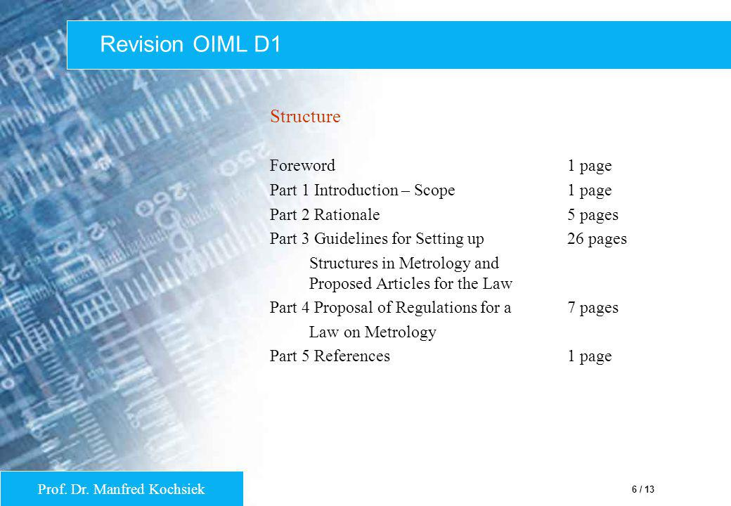 Revision OIML D1 Structure Foreword 1 page