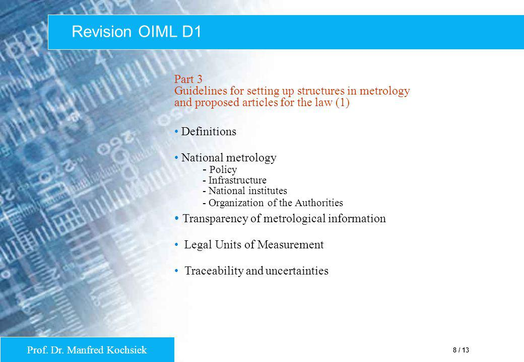 Revision OIML D1 Transparency of metrological information