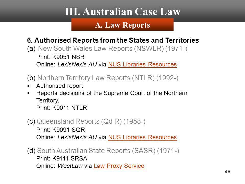 III. Australian Case Law