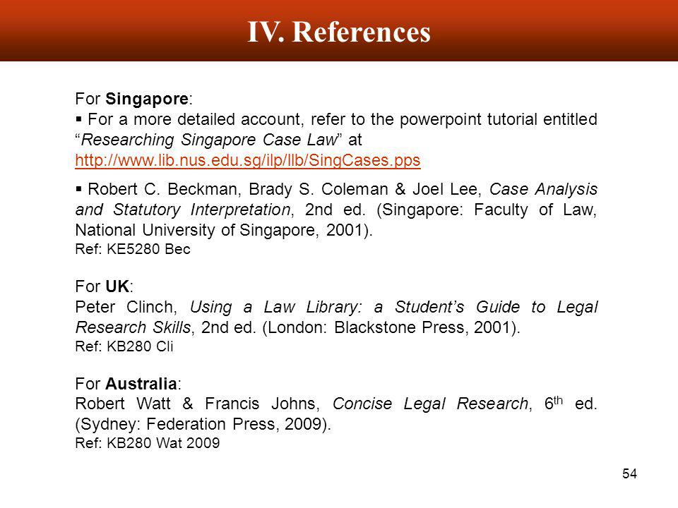 IV. References For Singapore: