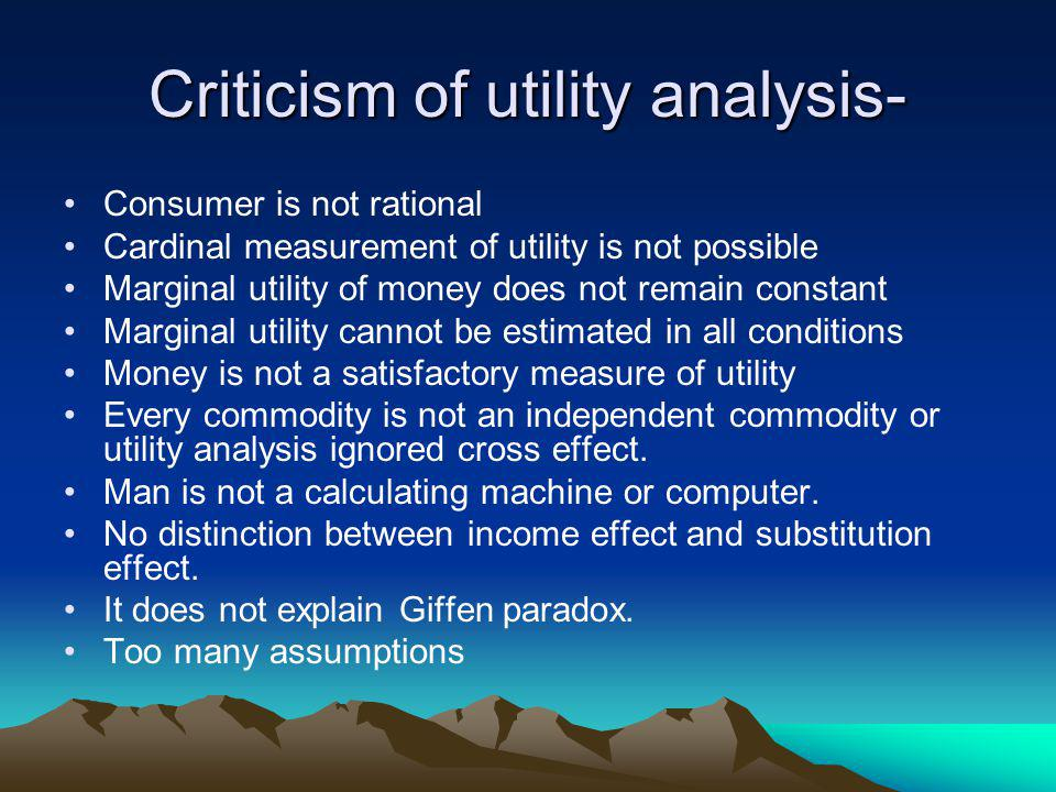 Criticism of utility analysis-