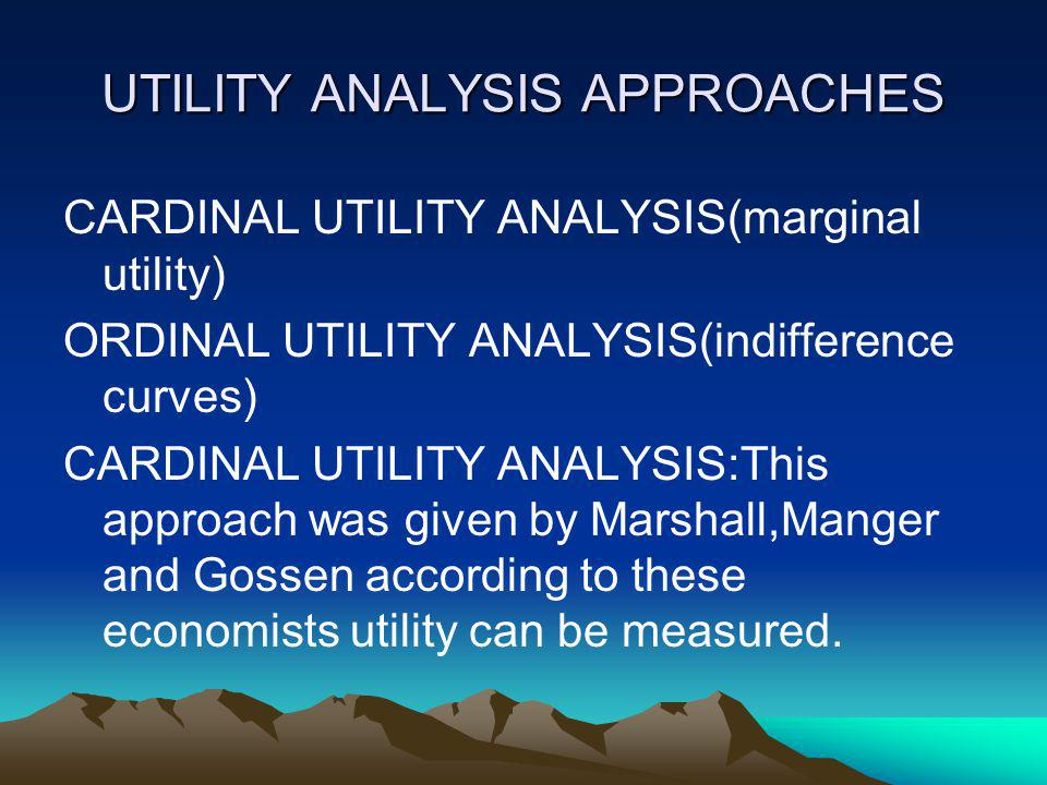 UTILITY ANALYSIS APPROACHES