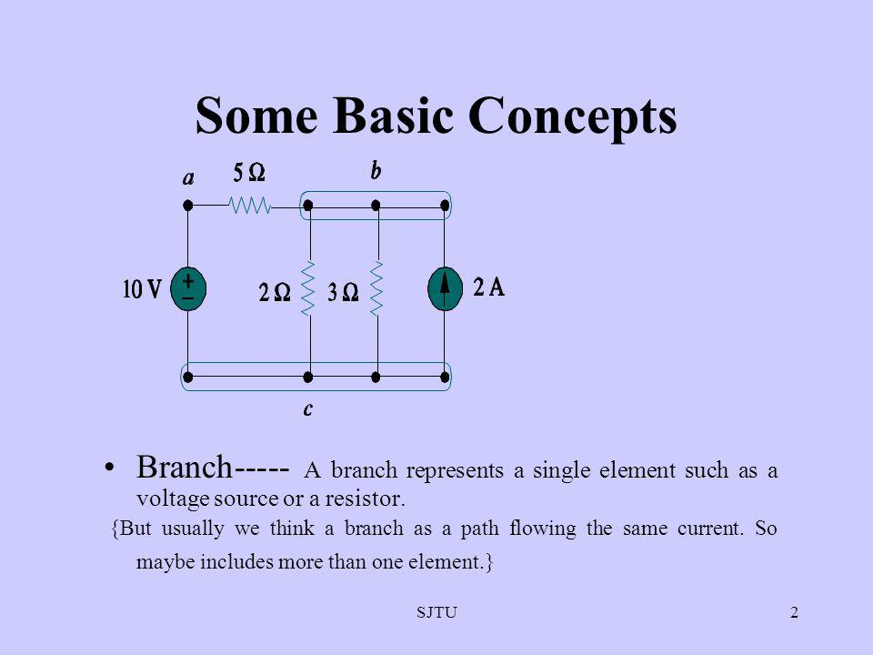 Some Basic Concepts Branch----- A branch represents a single element such as a voltage source or a resistor.