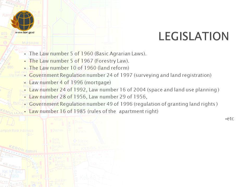 LEGISLATION The Law number 5 of 1960 (Basic Agrarian Laws).