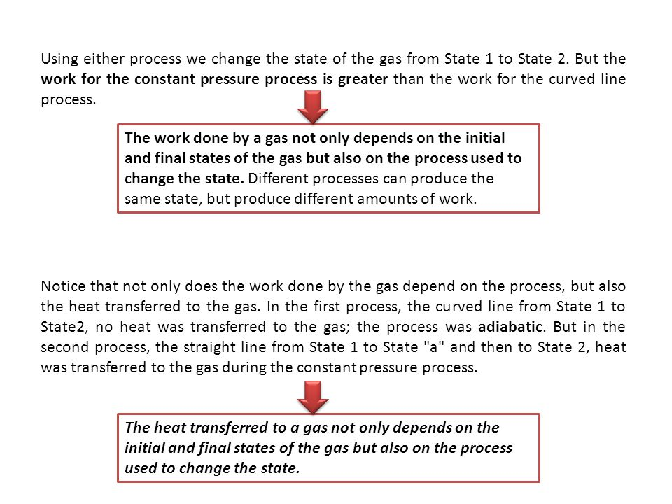 Using either process we change the state of the gas from State 1 to State 2. But the work for the constant pressure process is greater than the work for the curved line process.