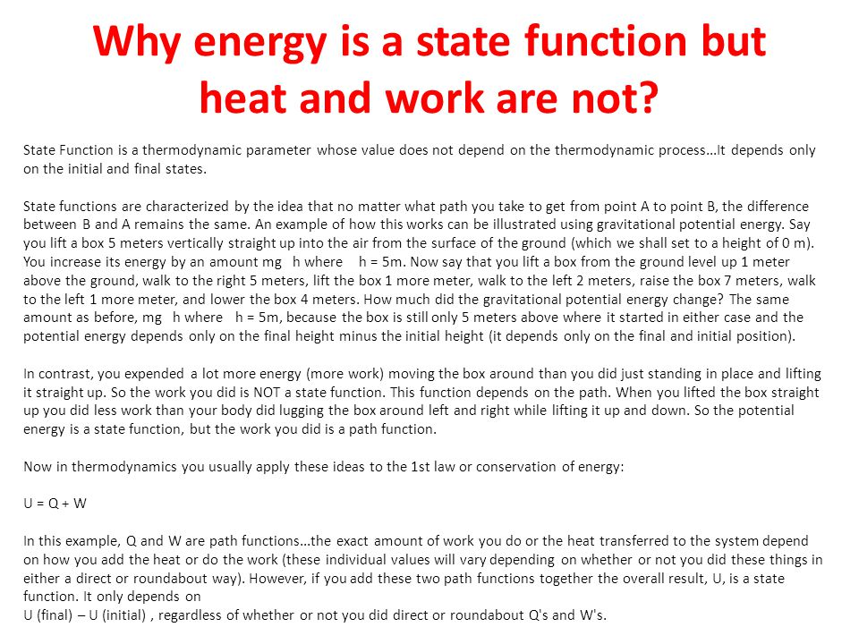 Why energy is a state function but heat and work are not