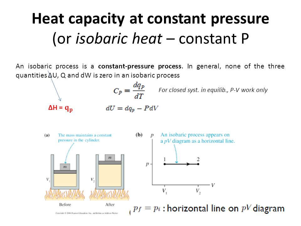 Heat capacity at constant pressure (or isobaric heat – constant P