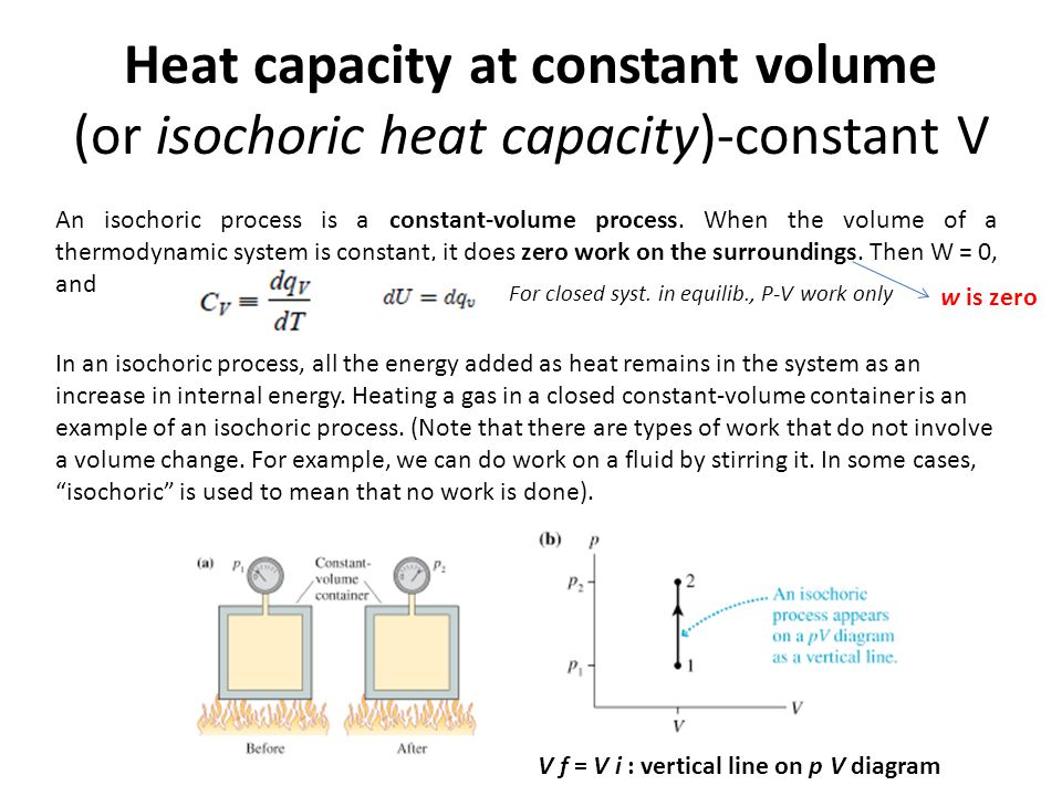 Heat capacity at constant volume (or isochoric heat capacity)-constant V