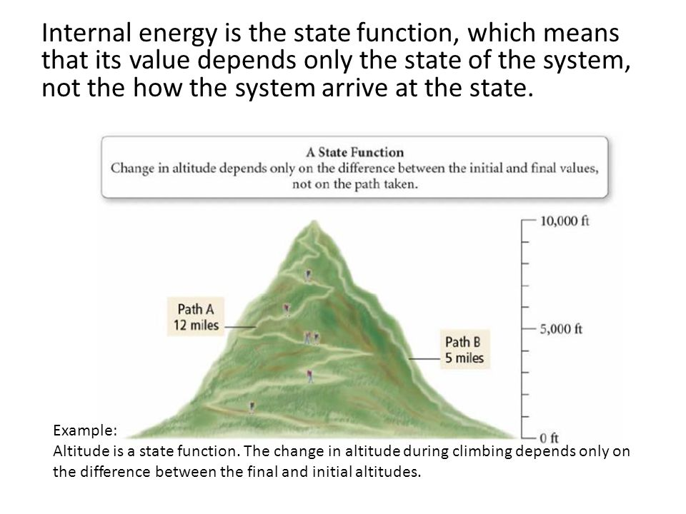 Internal energy is the state function, which means that its value depends only the state of the system, not the how the system arrive at the state.