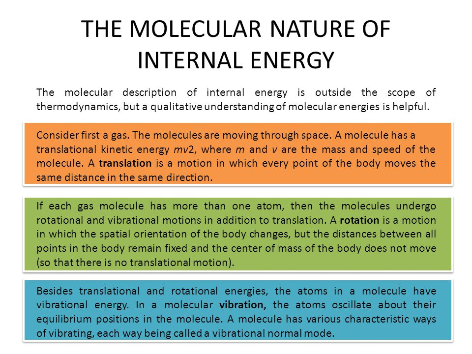 THE MOLECULAR NATURE OF INTERNAL ENERGY