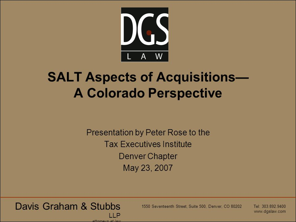 SALT Aspects of Acquisitions— A Colorado Perspective