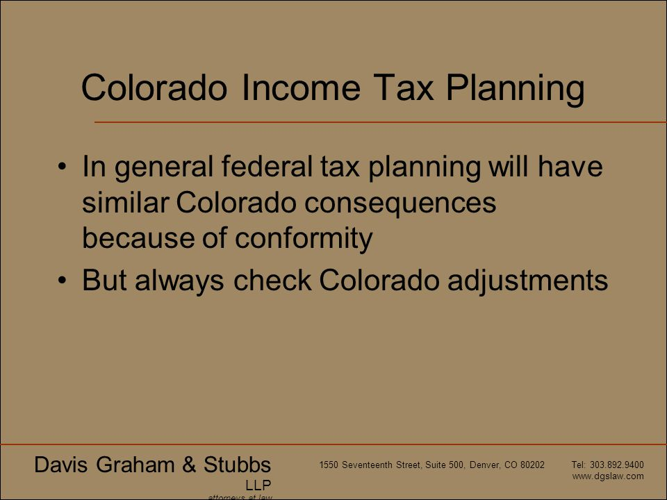 Colorado Income Tax Planning