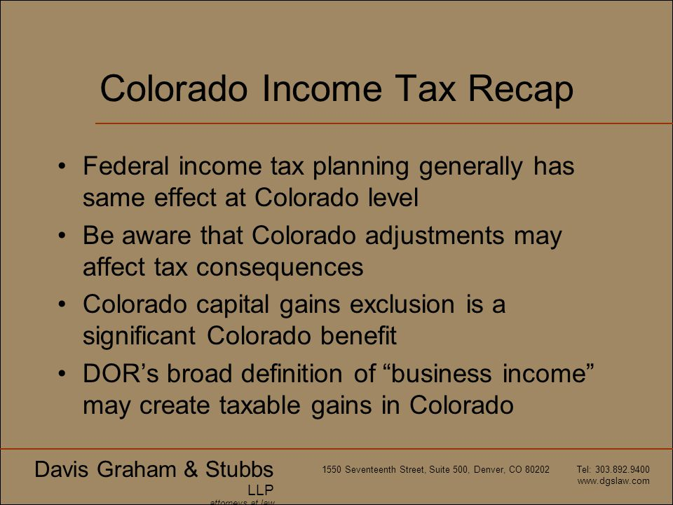 Colorado Income Tax Recap