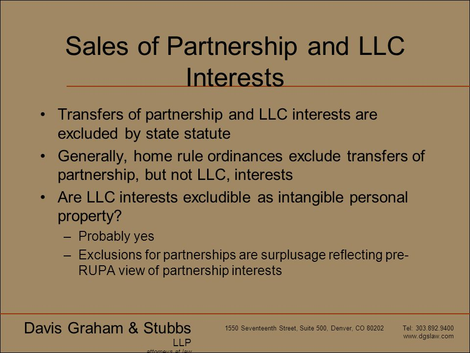 Sales of Partnership and LLC Interests