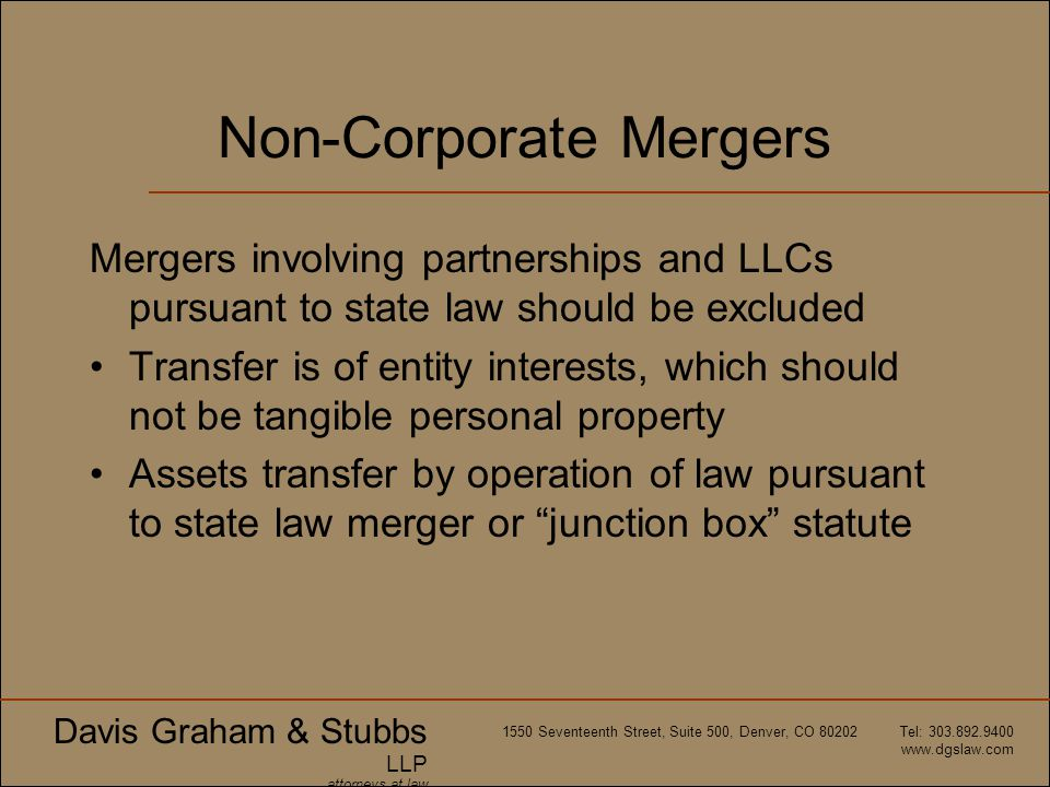 Non-Corporate Mergers