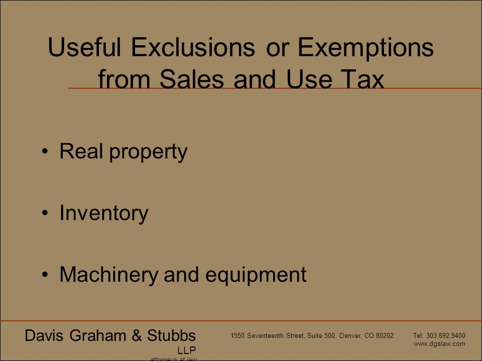 Useful Exclusions or Exemptions from Sales and Use Tax