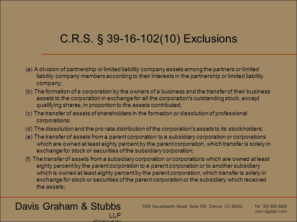 C.R.S. § 39-16-102(10) Exclusions