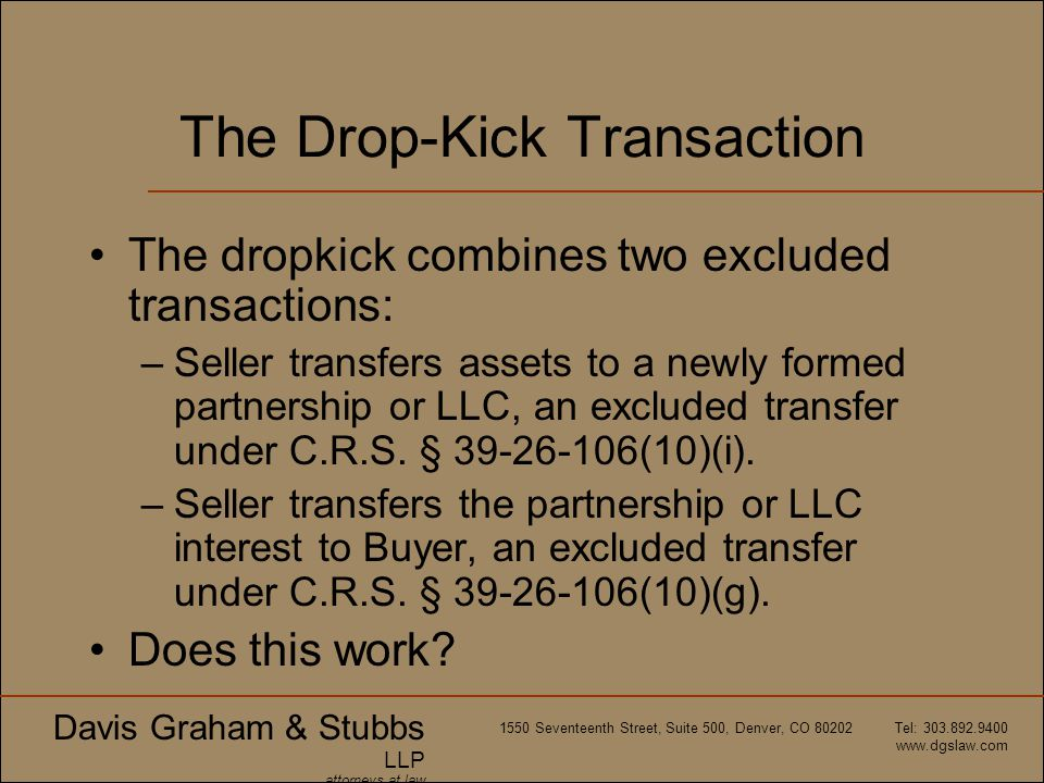 The Drop-Kick Transaction