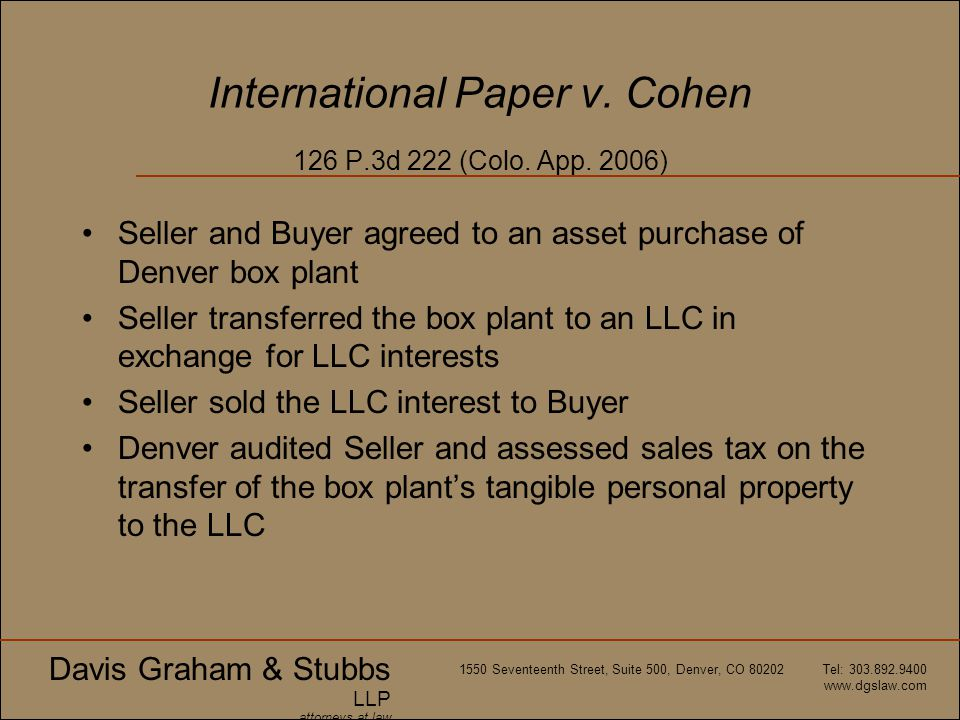 International Paper v. Cohen 126 P.3d 222 (Colo. App. 2006)