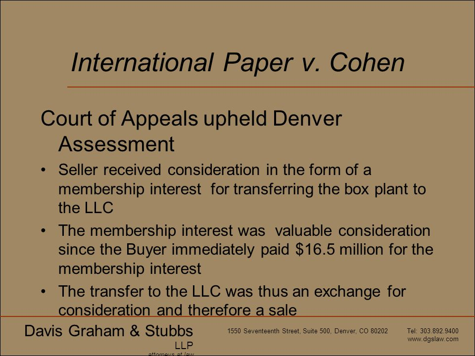 International Paper v. Cohen