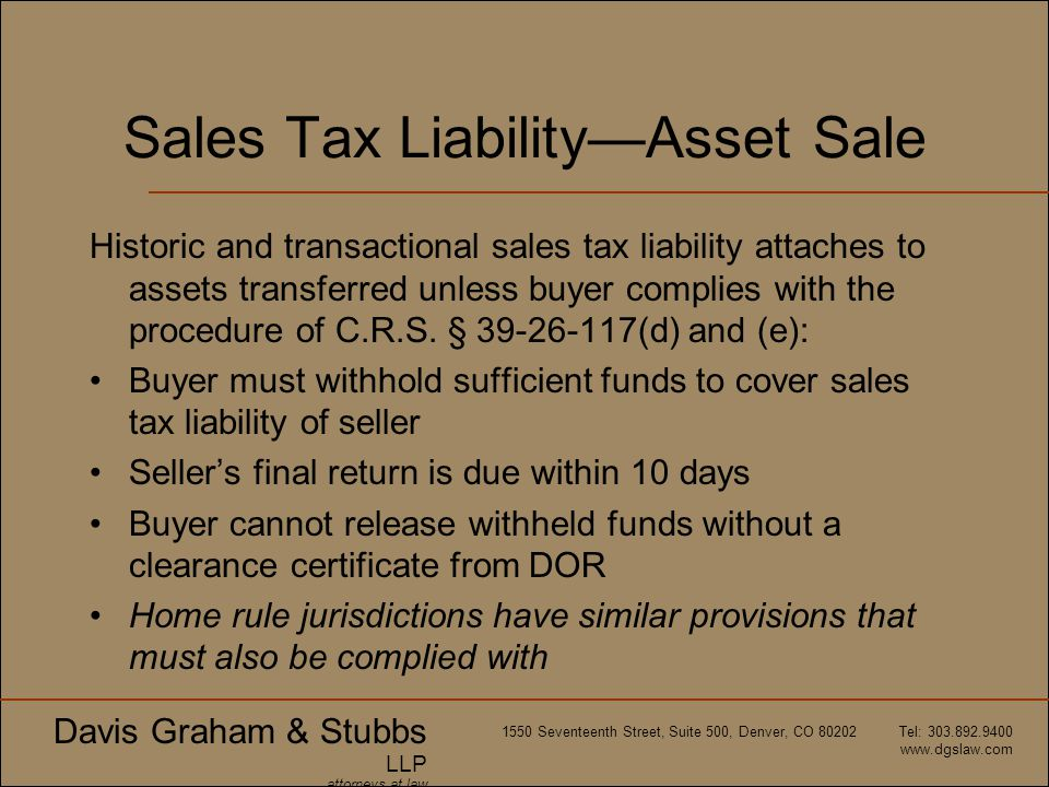 Sales Tax Liability—Asset Sale