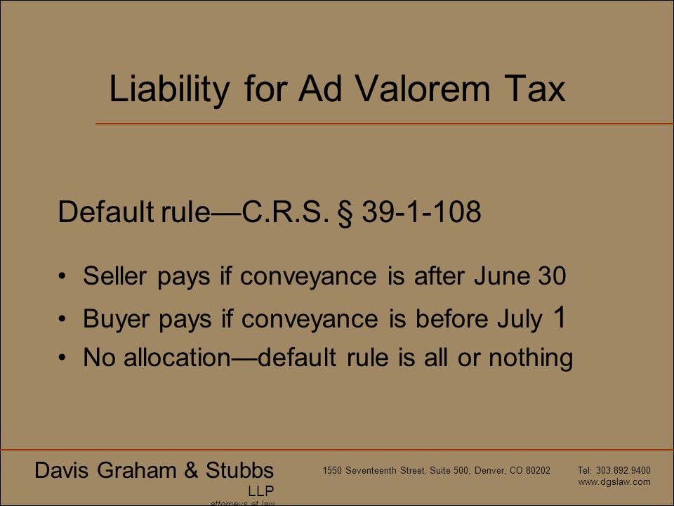 Liability for Ad Valorem Tax