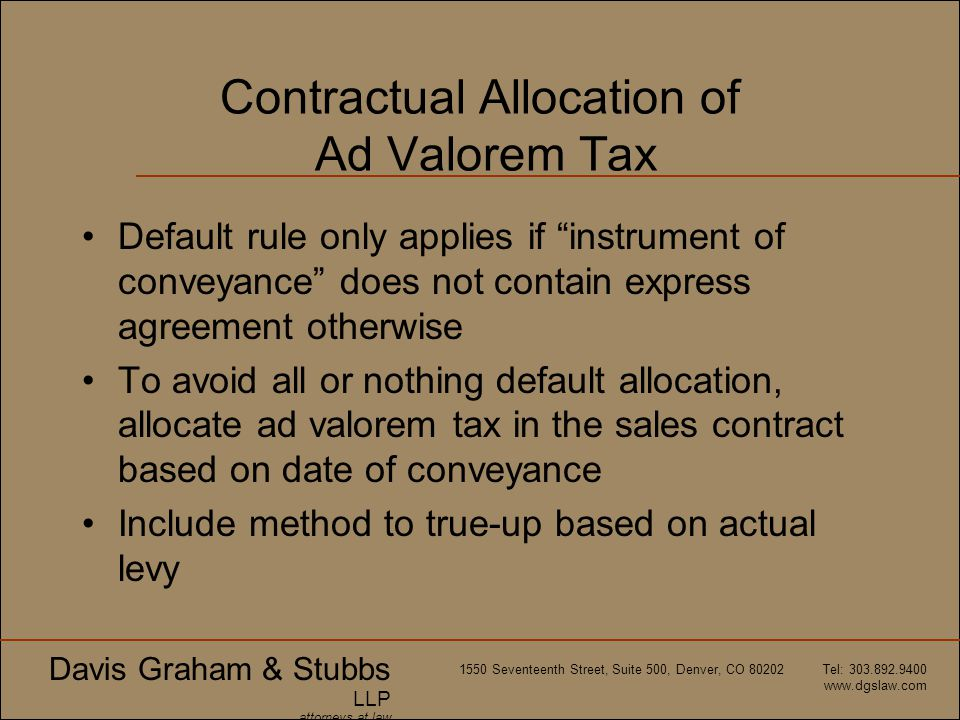 Contractual Allocation of Ad Valorem Tax