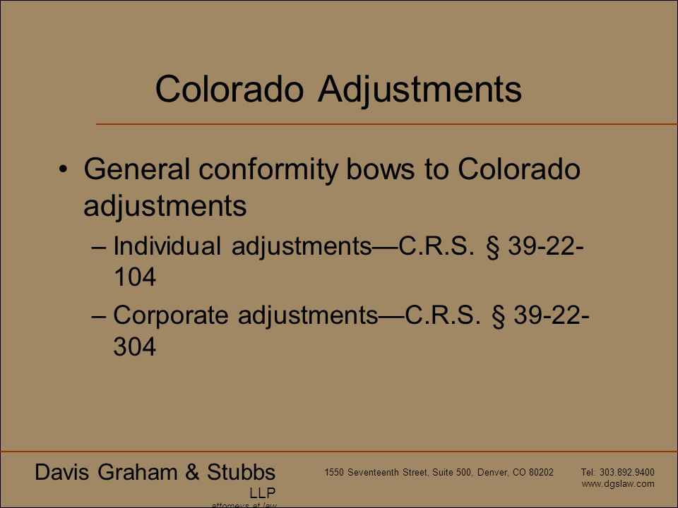 Colorado Adjustments General conformity bows to Colorado adjustments