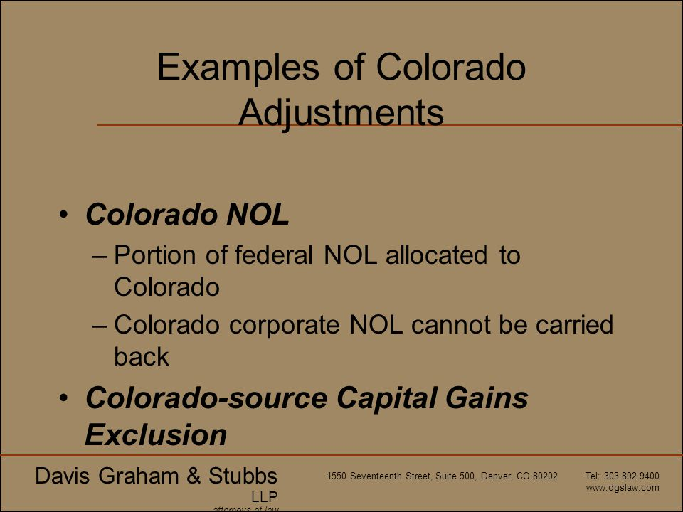 Examples of Colorado Adjustments