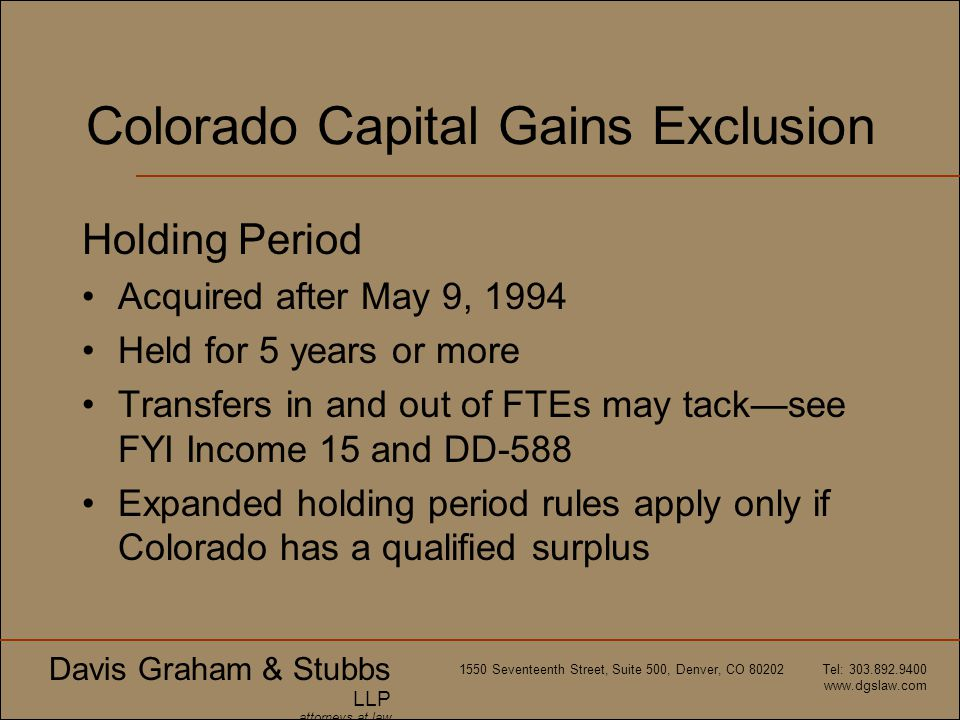 Colorado Capital Gains Exclusion