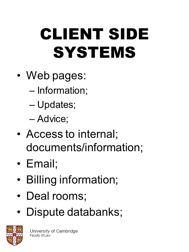 CLIENT SIDE SYSTEMS Web pages: