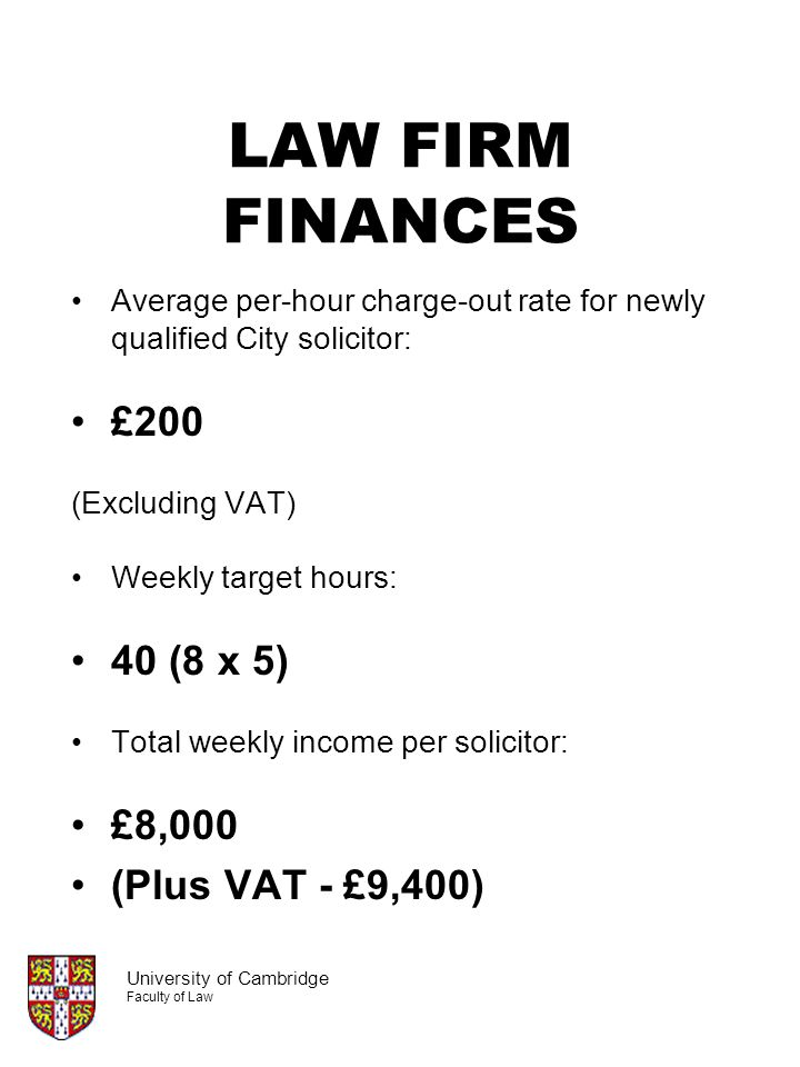LAW FIRM FINANCES £200 40 (8 x 5) £8,000 (Plus VAT - £9,400)