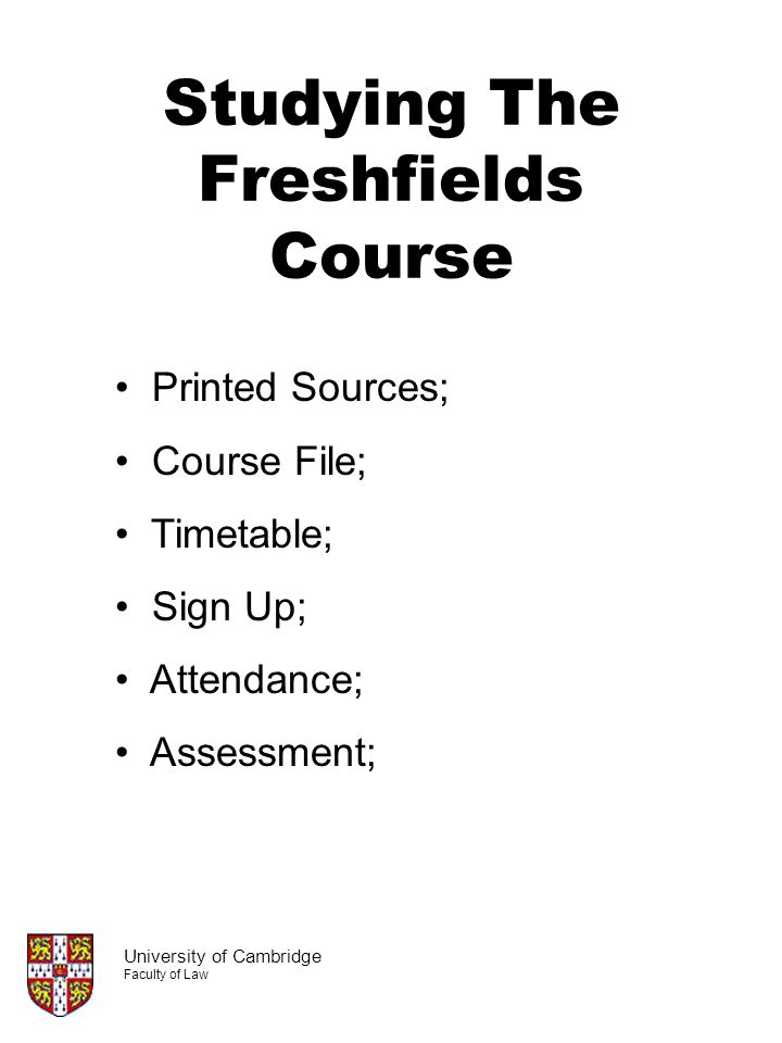 Studying The Freshfields Course