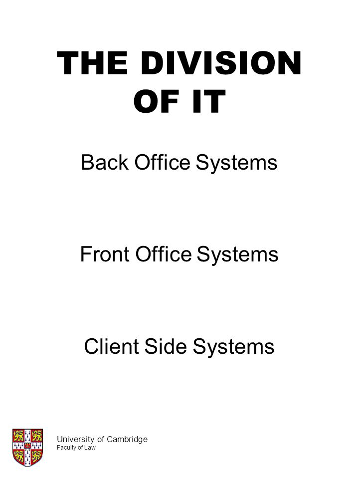 THE DIVISION OF IT Back Office Systems Front Office Systems