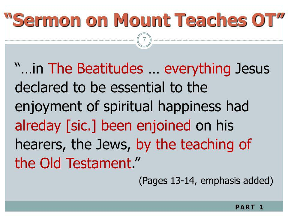 Sermon on Mount Teaches OT