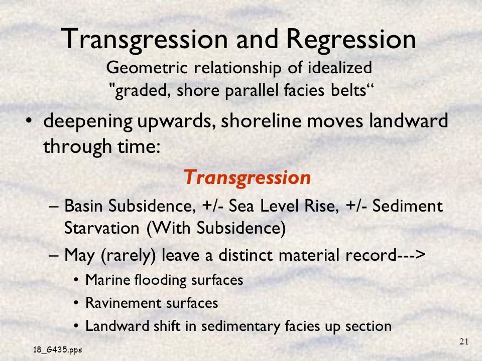 Transgression and Regression Geometric relationship of idealized graded, shore parallel facies belts