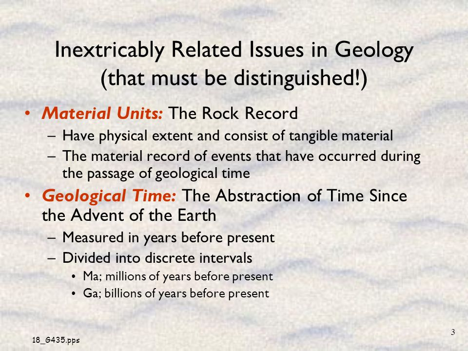 Inextricably Related Issues in Geology (that must be distinguished!)