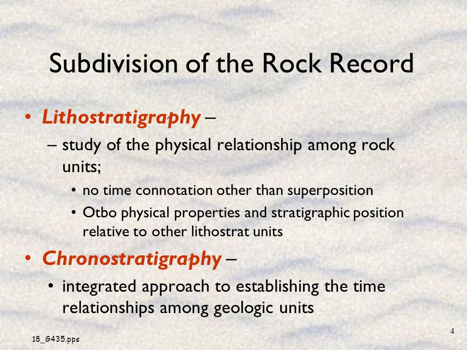 Subdivision of the Rock Record