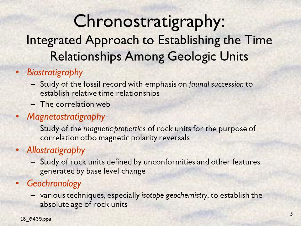 Chronostratigraphy: Integrated Approach to Establishing the Time Relationships Among Geologic Units