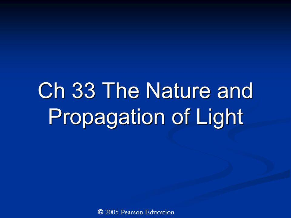 Ch 33 The Nature and Propagation of Light