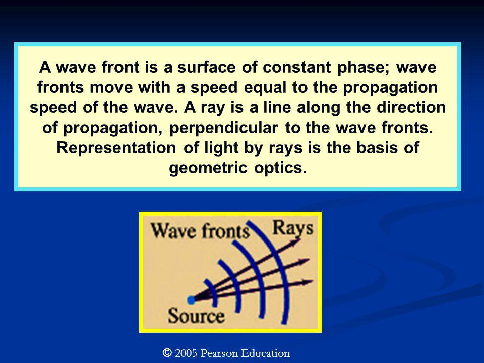 A wave front is a surface of constant phase; wave fronts move with a speed equal to the propagation speed of the wave. A ray is a line along the direction of propagation, perpendicular to the wave fronts. Representation of light by rays is the basis of geometric optics.