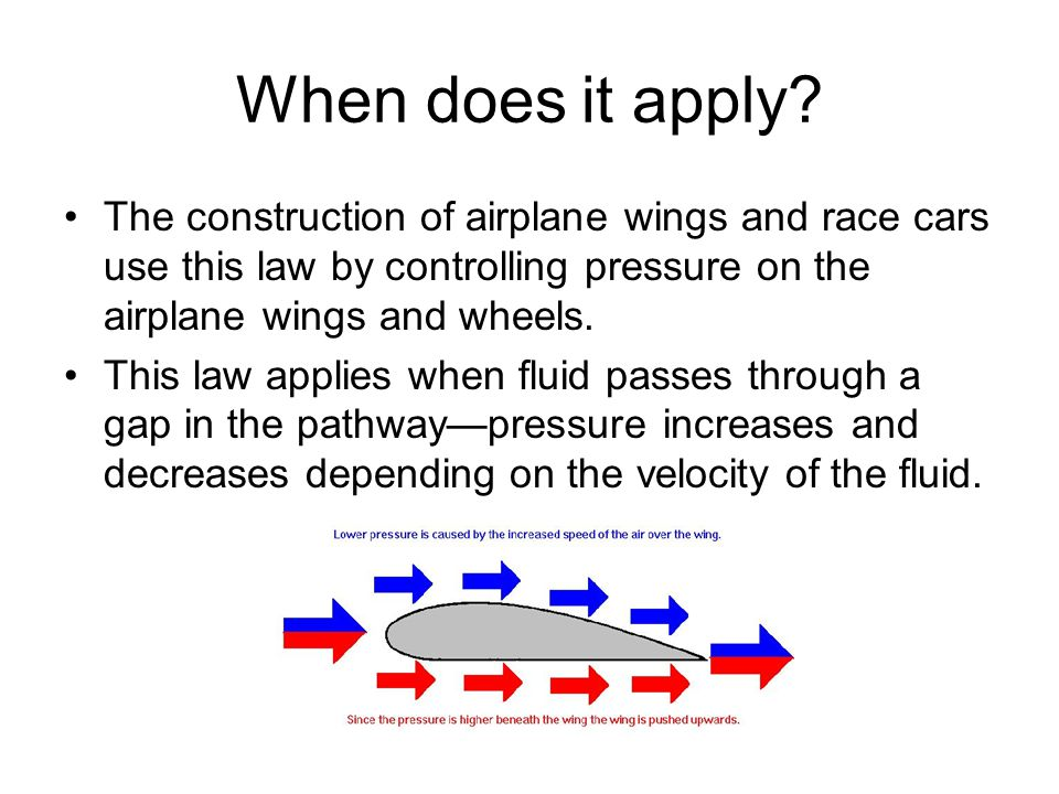 When does it apply The construction of airplane wings and race cars use this law by controlling pressure on the airplane wings and wheels.