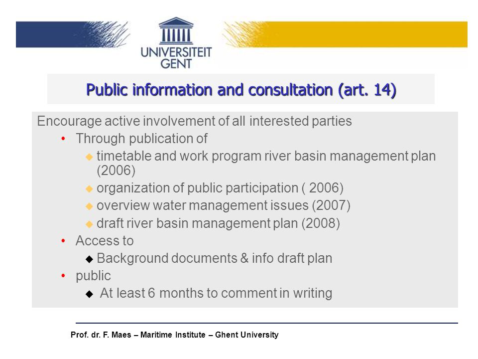 Public information and consultation (art. 14)