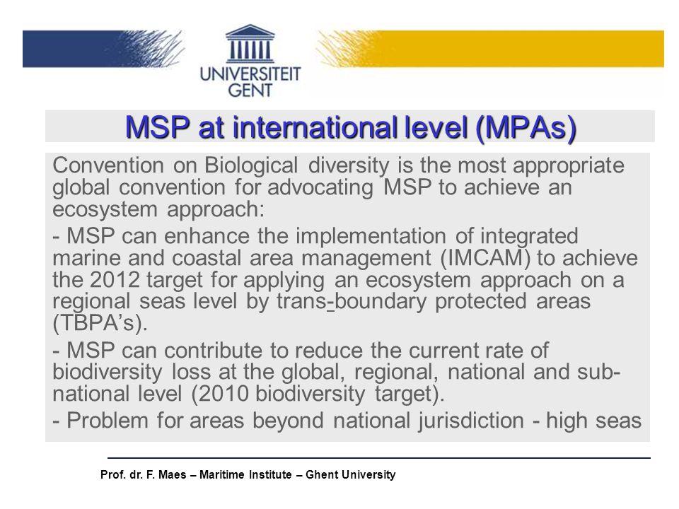 MSP at international level (MPAs)