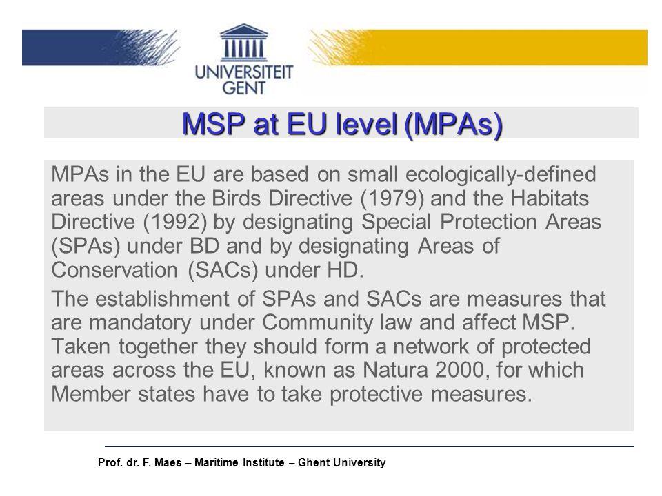 MSP at EU level (MPAs)