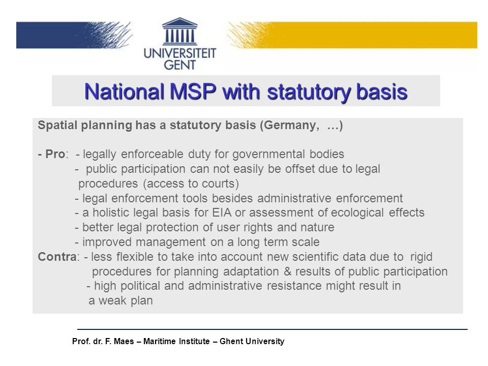 National MSP with statutory basis