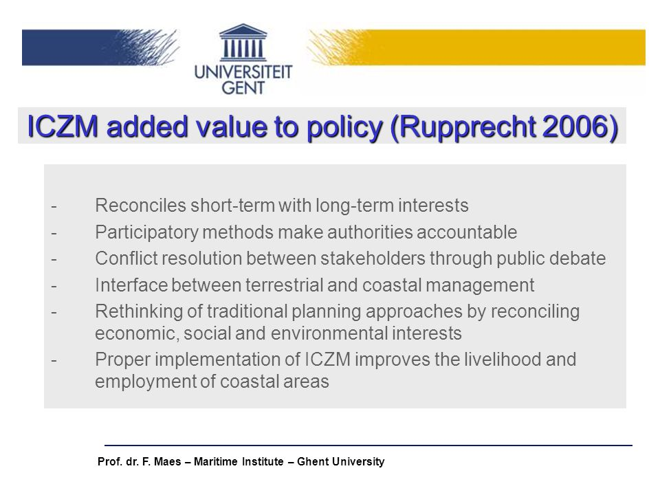 ICZM added value to policy (Rupprecht 2006)