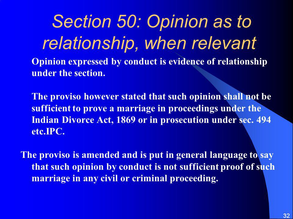 Section 50: Opinion as to relationship, when relevant