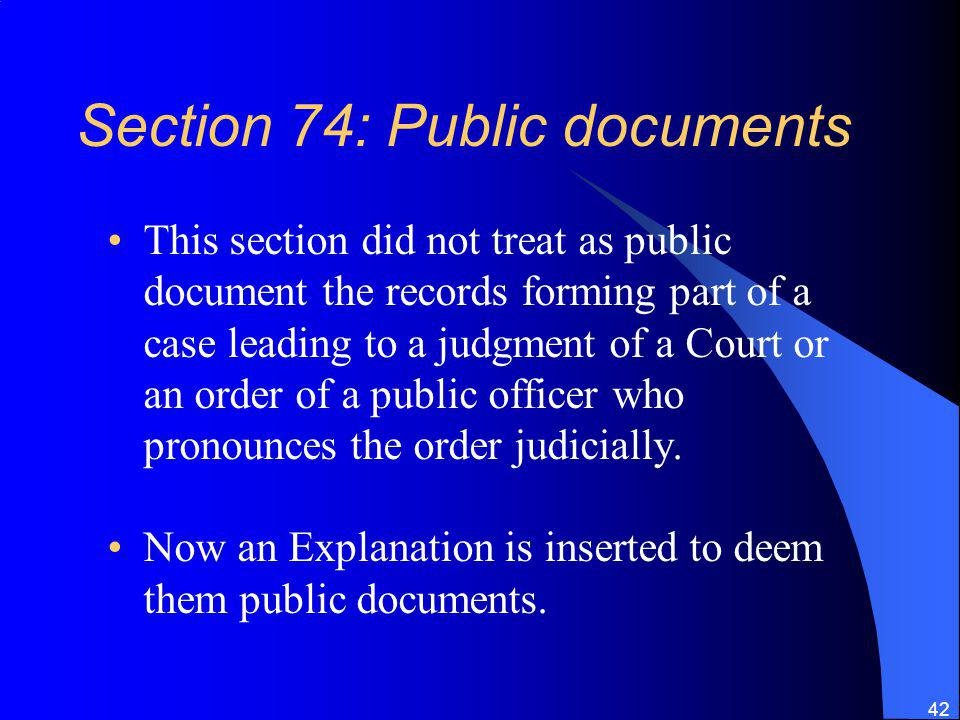 Section 74: Public documents